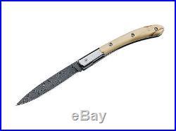 Fox Italy Damascus Elite Pocket Folding Knife / Olive Wood 364 L Metal Gift Box