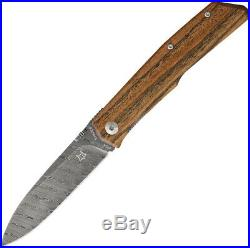 Fox Terzuola Linerlock Bocote Wood Handle Damascus Steel Folding Knife 525DB