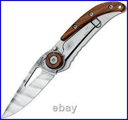 Fox Trendy Frame Folding Knife 2.13 Damascus Steel Blade Cocobolo Wood Handle