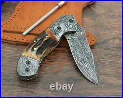 Genuine Damascus steel Folding Knife Stag Horn Pocket Knife Mosaic pin USA