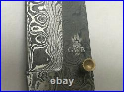 Grey Wolf Damascus Folding Knife In Leather Sheath