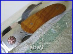 HOWARD HITCHMOUGH damascus folding gentleman's liner lock art knife