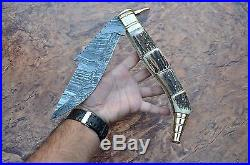 HUGE 18.50INCH SPANISH NAVAJA, Damascus steel blade, FOLDING KNIFE, STAG HANDLE