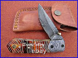Hand Crafted Damascus Folding Knife- Engraved Hand Flamed Bone Handle