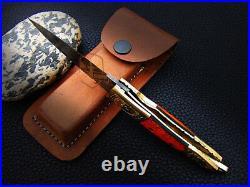 Hand Forged Damascus Steel Engraved Bolster Resin Pocket Folding Knife