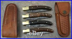 Hand Made Damascus Steel French Laguiole Style Pocket Folding Knife Set