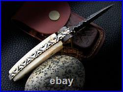 Hand Scrimshaw Cobra Damascus Pocket Folding Knife Camel Bone Collectible Knife