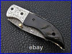 Hand forged Damascus Folding Knife sheep horn engraved bolster