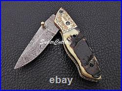 Hand forged Handmade Damascus Folding Knife Engraved Bolster Sheep Horn
