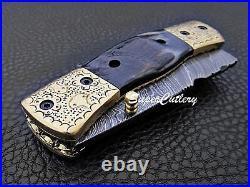 Hand forged Handmade Damascus Folding Knife Engraved Brass Bolster Sheep Horn