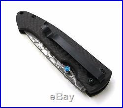 Hand made Damascus Blade Folding Knife 2.75 Carbon Fiber Handle, E, 6102CFO-12D