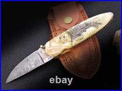 Handcrafted Custom Scrimshaw Art Sale Damascus Pocket Folding Knife Camel Bone