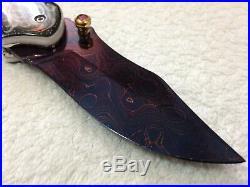 Handmade Blued Alabama Damascus Thai Folding Knife Painted Pearl