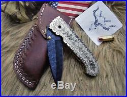 Handmade Damascus Folding Knife 3.5in Titanium Coated Paint Blade, Hand Engraved
