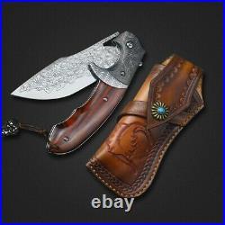 Handmade Damascus Steel Custom Folding Pocket Knife Wood Handle Leather Sheath