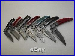 Handmade Damascus Steel Folding Knives Colored Bone Handle Lot Of 7