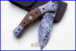Handmade Damascus Steel Folding Pocket Knife Liner Lock G10 Handle VK0067