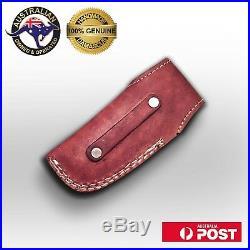 Handmade Damascus Steel Skinner Folding Pocket Knife, Engraved Brass Handle, Y4