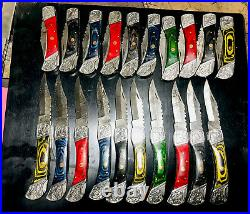 Handmade Damascus Steel folding knives Lott Of 20 Folding Knives