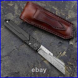 Handmade Damascus Titanium Handle Higonokami Folding Pocket tanto knife EDC