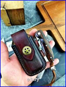 Handmade Drop Point Folding Knife Pocket Hunting Tactical Combat Damascus Steel