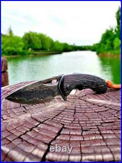 Handmade Drop Point Knife Folding Pocket Flipper Hunting Tactical Damascus Steel