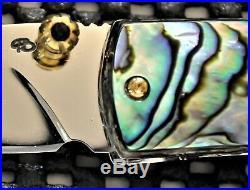 Handmade Folding Knife Colored Damascus Black Pearl / Abalone Handle