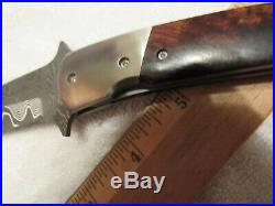 Handmade Folding Knife. Ed Vanhoy. Damascus Blade. Unused. Excellent
