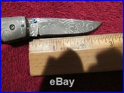Handmade Folding Knife. Mike'Whiskers' Allen. Damascus Fossil Lockback. Mint