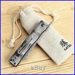 Handmade Full Damascus Steel Bamboo Style Japanese Razor Pocket Folding Knife