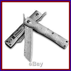 Handmade Full Damascus Steel Bamboo Style Japanese Razor Pocket Folding Knife W