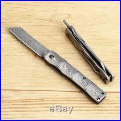 Handmade Full Damascus Steel Japanese Razor Pocket Folding Knife with Pocket Clip