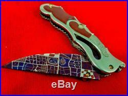 Handmade Mr. Suchat Folding Knive Mosaic Damascus Blade Titanium Frame Lock Back