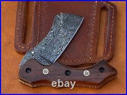 Handmade Rosewood Mosaic Pins Damascus Steel Folding Knife Camping Gifts