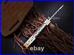 Handmde Damascus Steel Engraved Folding Knife Pocket Knife Buffalo Horn