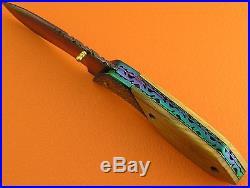 Heat Process Color Damascus Steel Olive Wood Handle Folding Knife FS13CBD-5