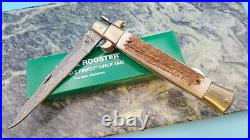 Hen & Rooster Stiletto Kris Damascus Stag Folding Blade Pocket Knife Medium