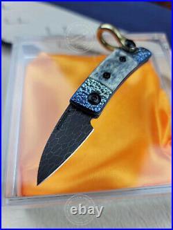 High End Damascus Folding Knife Pocket Mosaic Pattern Ball Bearing Titanium Bone