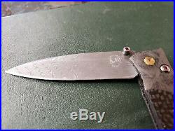 High End William Henry Full Damascus Folding Knife L@@k U. S A. Hand Crafted