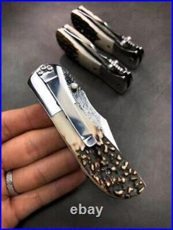 High Quality VG 10 Damascus Steel Pocket Folding Knife With Antler Horn Handle
