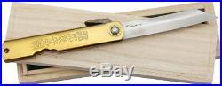Higonokami Damascus 3 Folding Bamboo Etched Brass Handles Knife
