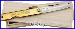 Higonokami Folding Pocket Knife New Damascus Folder Brass NO. 16 (KIRI BOX)