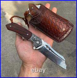 Hunting Knife Tactical Vg10 Damascus Folding Knives Flipper Blood Grooved Sheath