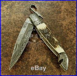 Impact Cutlery 1 Of A Kind Rare Custom Damascus Folding Pocket Knife Stag Antler