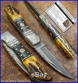 Impact Cutlery Rare Custom Damascus Folding Knife Stag Antler Handle