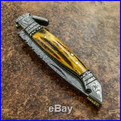 Impact Cutlery Rare Custom Damascus Folding Lock Back Knife Stag Antler Handle