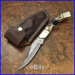 Impact Cutlery Rare Custom Damascus Folding Lock Back Pocket Knife Stag Antler