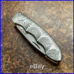 Impact Cutlery Rare Custom Damascus Folding Pocket Knife File Worked Slim Traper