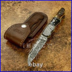 Impact Cutlery Rare Custom Damascus Folding Pocket Knife Stag Antler