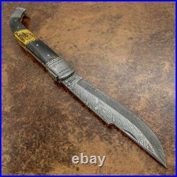 Impact Cutlery Rare XXL Custom Damascus Folding Lock Back Knife Stag Antler
